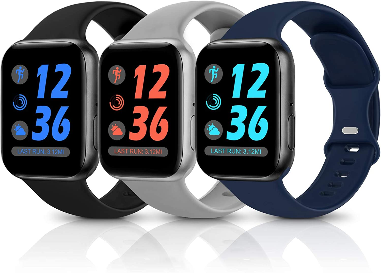 Sport Silicone Band Compatible with Apple Watch Bands 38mm 40mm 42mm 44mm,Soft Replacement Wristbands for iWatch Series 1/2/3/4/5/6/SE,Women Men,3 Pack(Black/Navy Blue/Grey,38mm/40mm-M/L)
