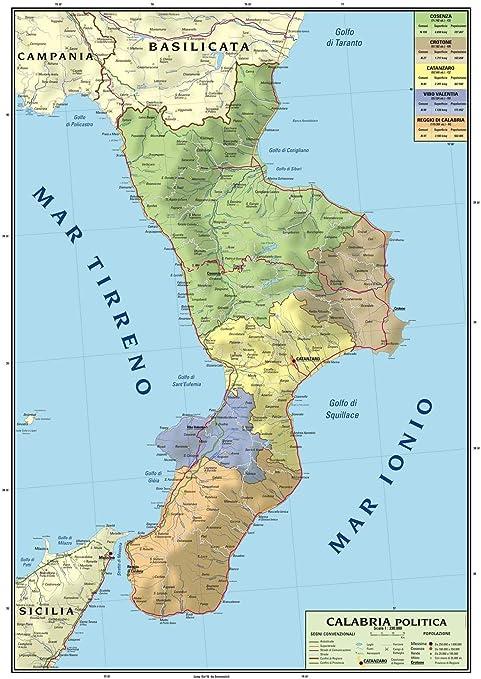 Cartina Muta Puglia.Carta Geografica Murale Regionale Calabria 100x140 Bifacciale Fisica E Politica Amazon It Cancelleria E Prodotti Per Ufficio