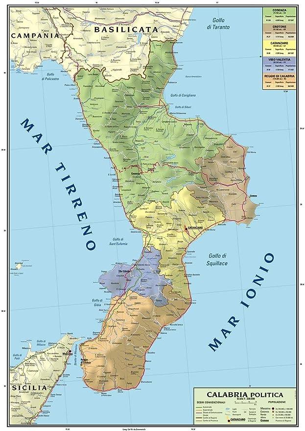 Calabria Costa Tirrenica Cartina.Naso Condizione Limitato Costa Calabra Tirrenica Cartina Amazon Monzacorre It