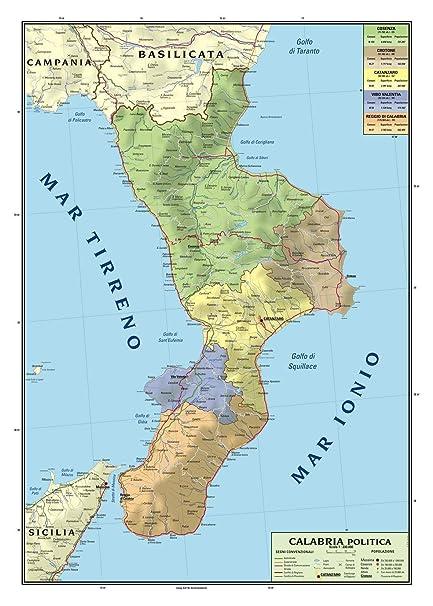 Cartina Geografica Fisica Lazio.Carta Geografica Murale Regionale Calabria 100x140