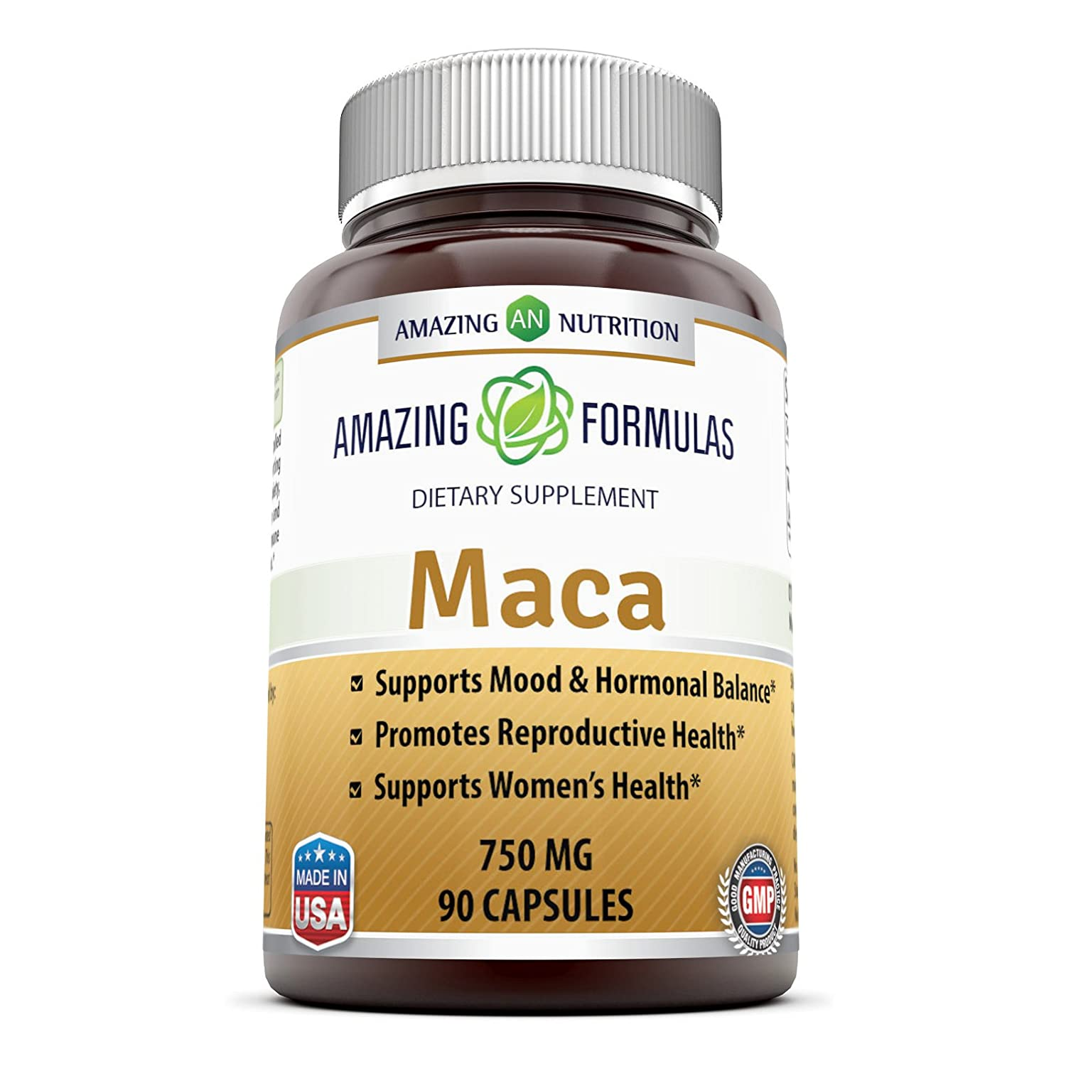 Amazing Formulas Maca Root Supplement * High Concentrate, Pure Maca (Lepidium Meyenii) Root 6: 1 Extract * 750mg 90 Capsules - Supports Reproductive Health, B0196S7842