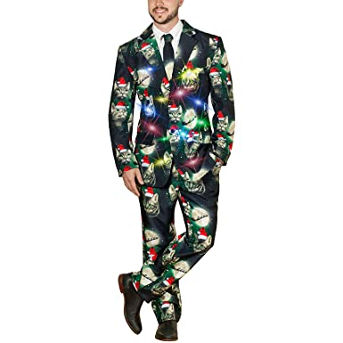 Christmas Sweater Suit.Life Of The Party Men S Ugly 3 Piece Led Light Up Christmas
