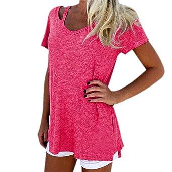 0decfb110e2fb Bellelove,Sweat-shirt femme pas cher,Les femmes d'été personnalité v-cou à  manches courtes T-shirt Casual Tee Tops Broadcloth Fashion Blouse Femme  pull rose ...