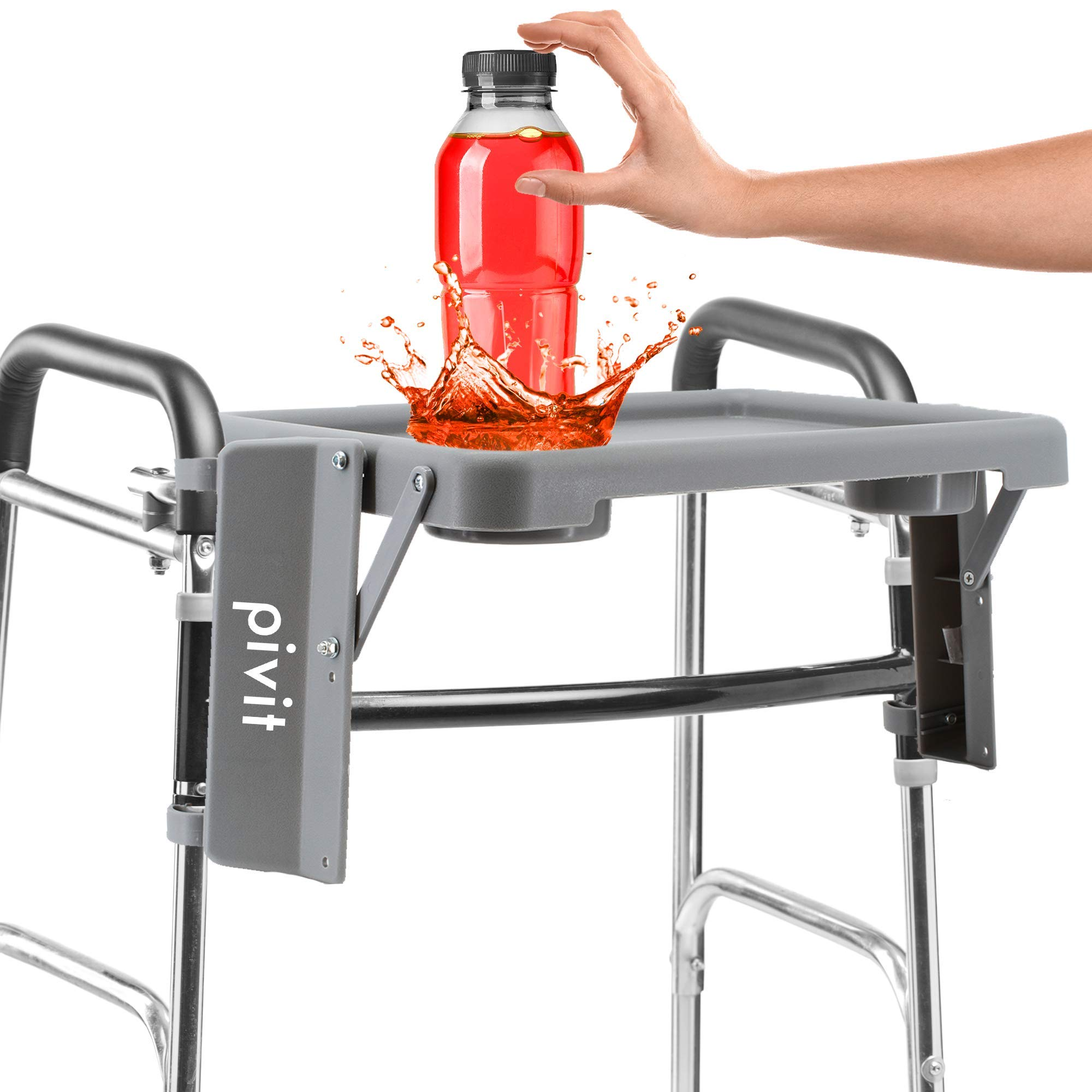 Pivit Walker Flip Tray with Cup Holders, Gray, 16'' W x 12'' D | Features Two Cup Holders | Easy to Install Or Take Off No Tools Required! | Raised Edges Prevent Spills | Can Fold Down When Not in Use by pivit