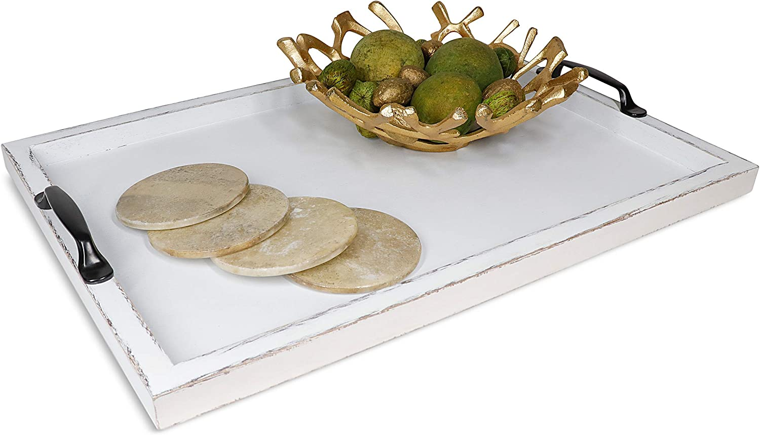 Large Wood Ottoman Serving Tray w/Handles - Decorative Centerpiece - Coffee Table Decor - Dinner/Food/Bar Trays - Modern Dining Room/Living/Kitchen Server centerpieces - Extra Large (White)