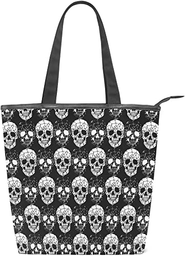 Goth Groceries Skull Tote Bag Weird Wonderful Black White Shoulder handbag Skulls Shopping Bags Handmade Cotton Gothic Shopper