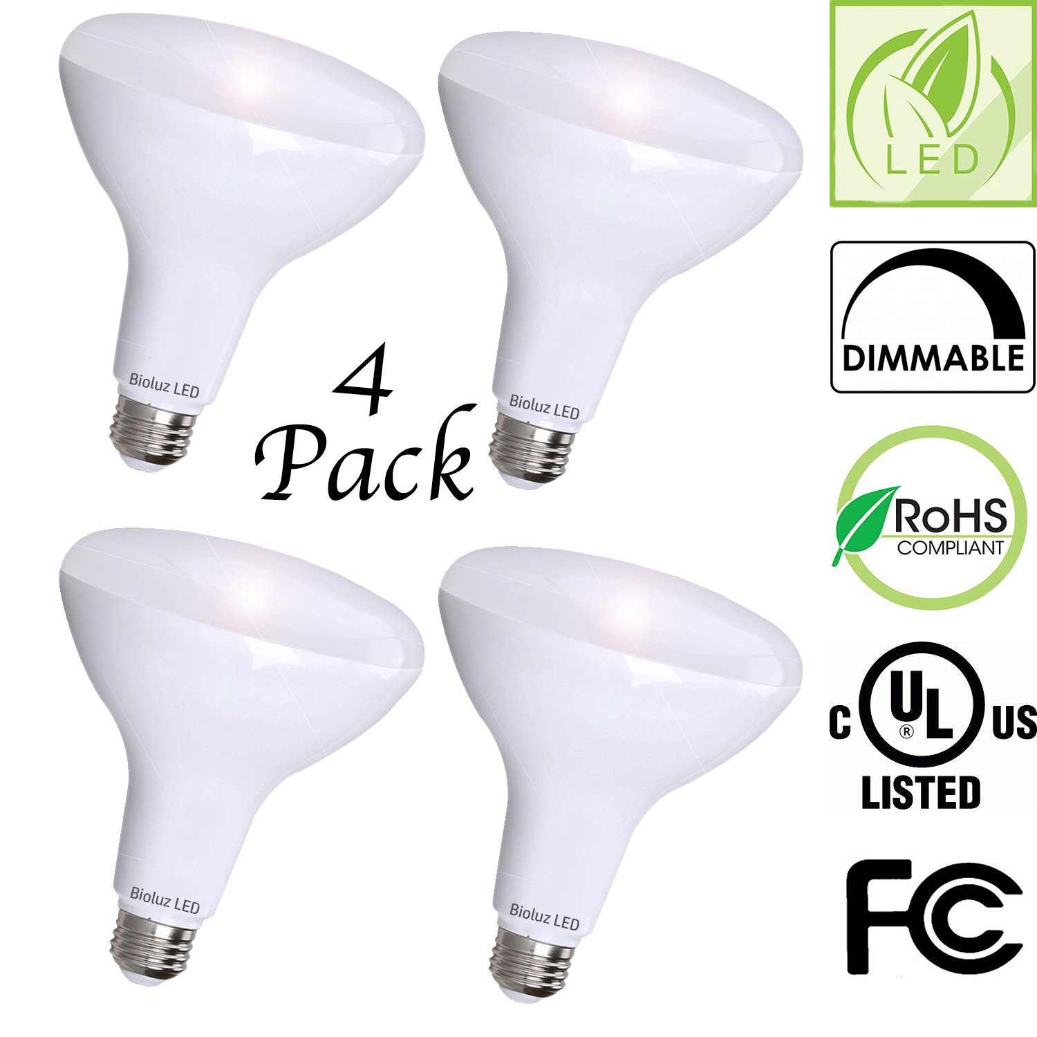 4 Pack Brightest BR40 LED Bulbs by Bioluz LED – INSTANT ON Warm LED Energy Saving Bulbs, 17w (120w Replacement) 2700k Bulb 1400 Lumen, Indoor/Outdoor Smooth Dimmable Lamp UL Listed by Bioluz LED