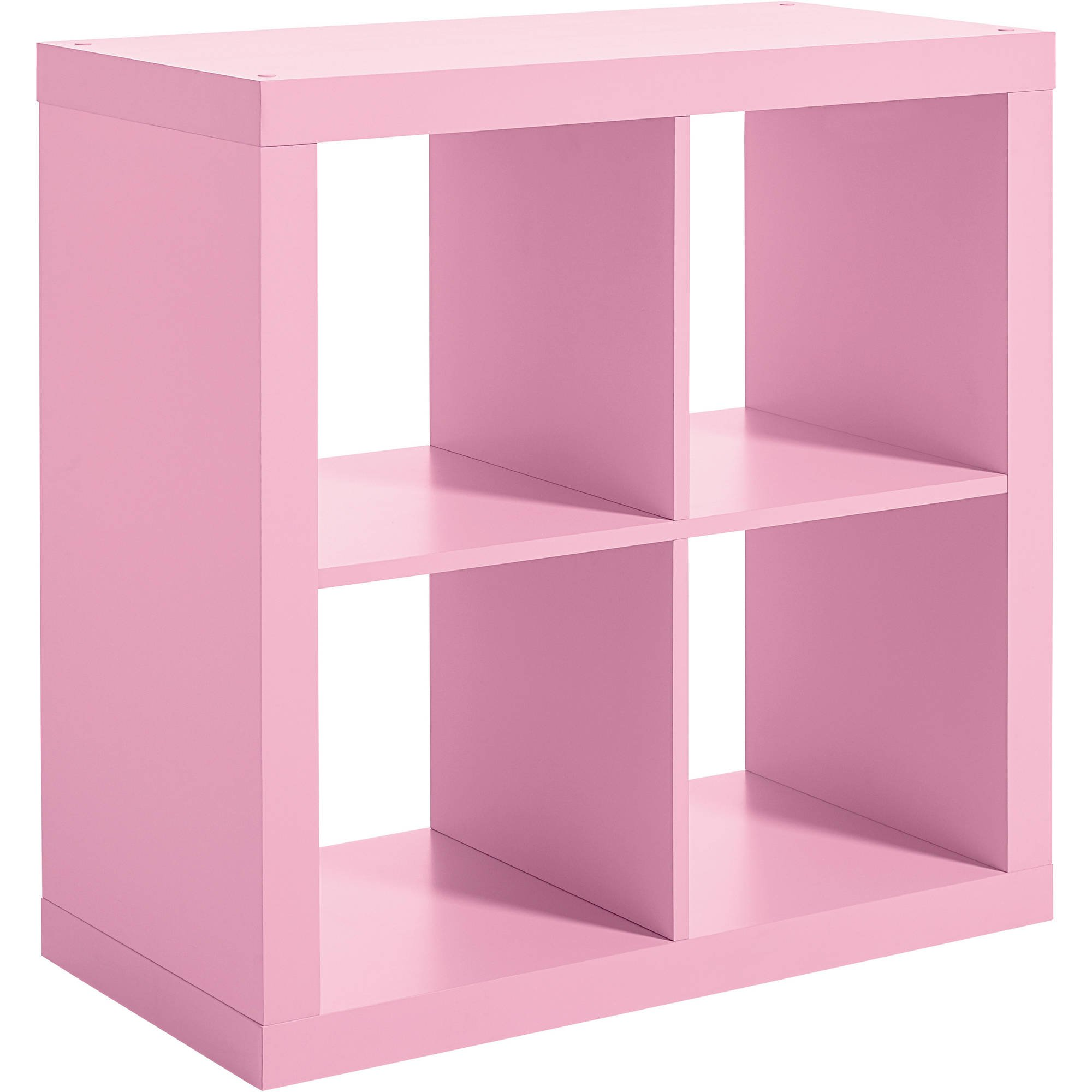 Versatile 4-Cube Storage Case for Organization and Display, Made of MDF and Laminated Particleboard, (Storage Bins and Other Extras NOT Included, Pink + Expert Home Guide by Love US