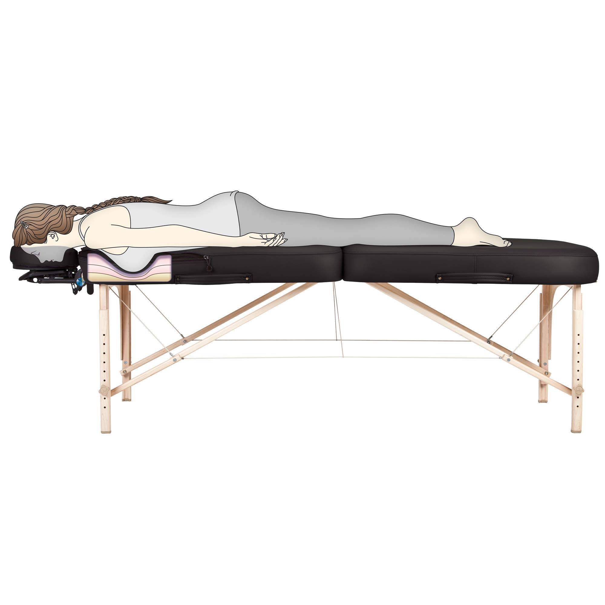 """EARTHLITE Portable Massage Table INFINITY CONFORMA with Breast Technology – Memory Foam Alcoves in Stomach & Chest Area, 3"""" Pro-Plush Deluxe Cushioning, Flex-Rest Face Cradle, Carry Case (Full Reiki)"""