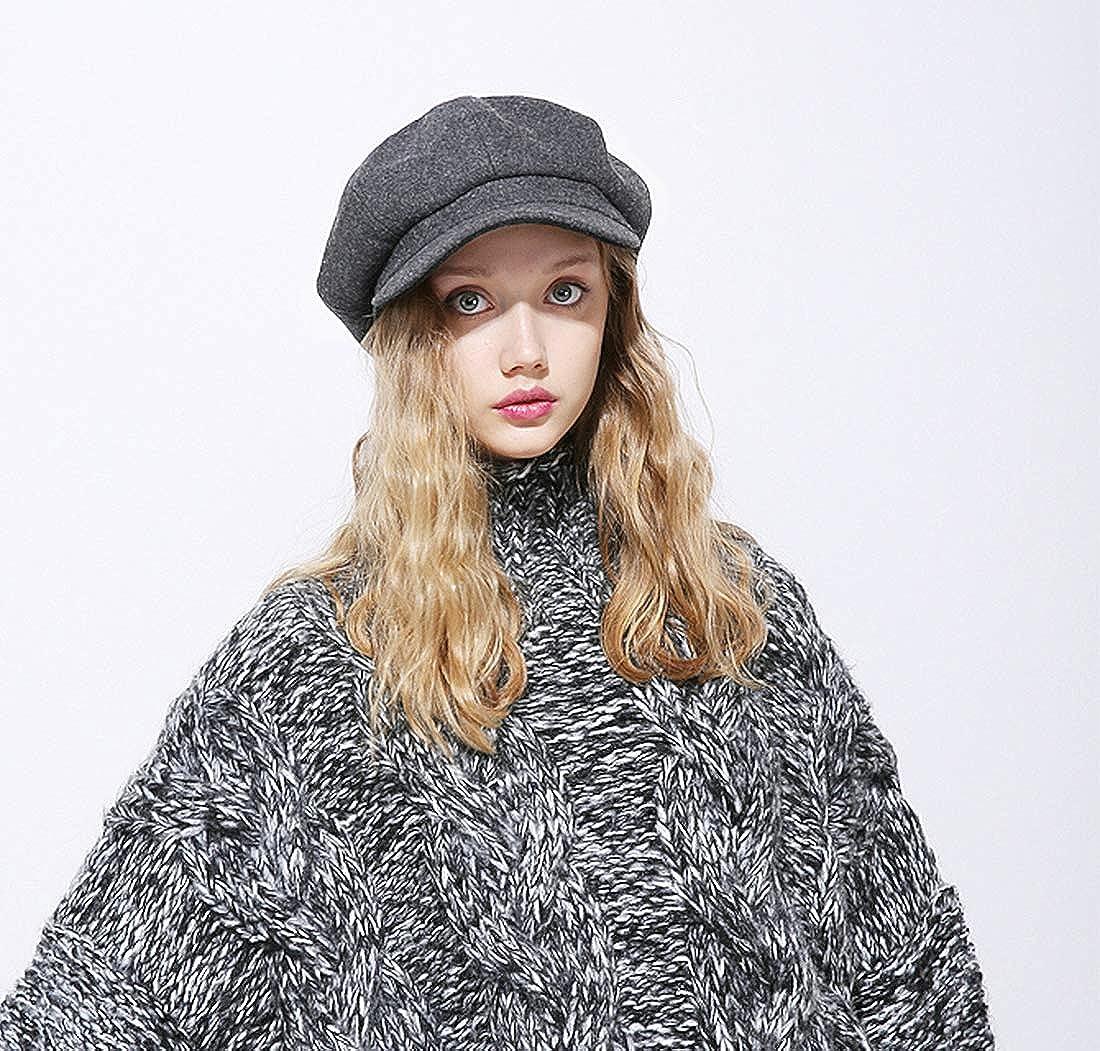 DORRISO Mode Damen Baske Baskenm/ütze Gestrickte Schirmm/ütze Fr/ühling Herbst Winter M/ütze Weiche Maler M/ütze Barett M/ütze Achteckiger Hut 54-60CM