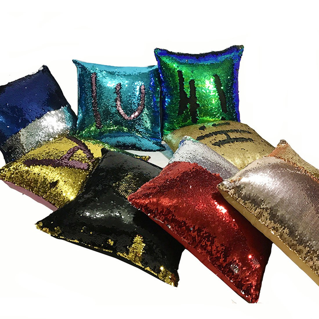 Fivbop Funny Two-Color Decorative Pillow Case Square Paillette Throw Mermaid Sequins Cushion Covers 16 X 16 for Home Decor Party//Sofa//Bed
