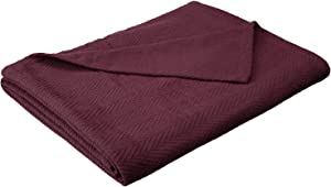 Superior 100% Cotton Thermal Blanket, Soft and Breathable Cotton for All Seasons, Bed Blanket and Oversized Throw Blanket with Metro Herringbone Weave Pattern - King Size, Plum