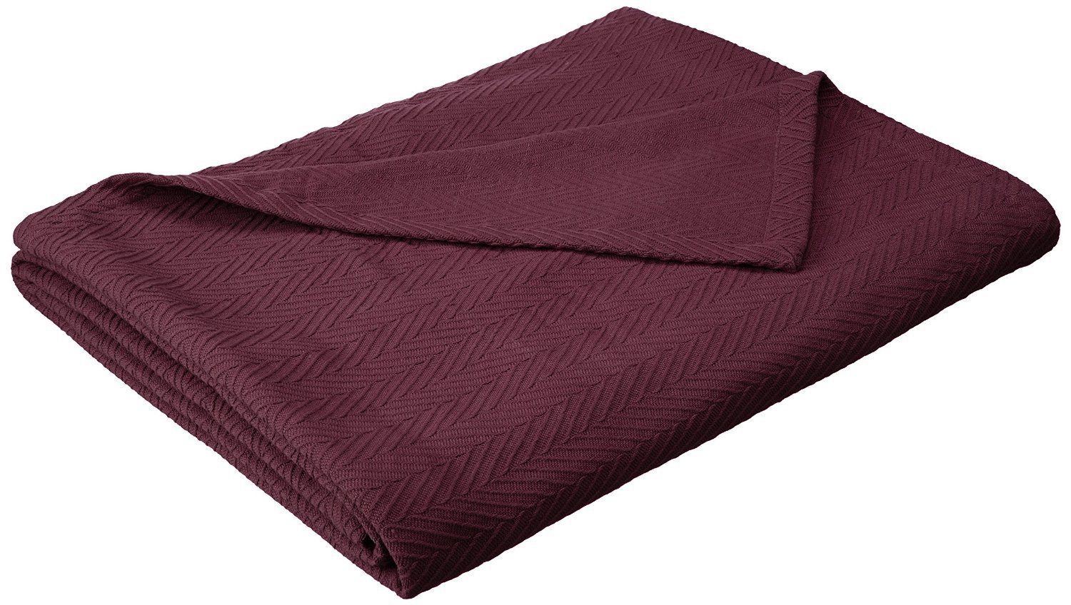 Superior 100% Cotton Thermal Blanket, Soft and Breathable Cotton for All Seasons, Bed Blanket and Oversized Throw Blanket with Metro Herringbone Weave Pattern - Full/Queen Size, Plum