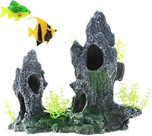 Saim Aquarium Mountain View Ornament Resin Rockery Hiding Cave Tree Fish Tank Decor with 2 Artificial Fish Decoration