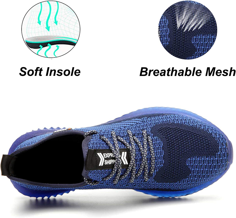 SUADEX Steel Toe Work Shoes Indestructible Shoes Men Women Lightweight Construction Composite Toe Shoes Black Size