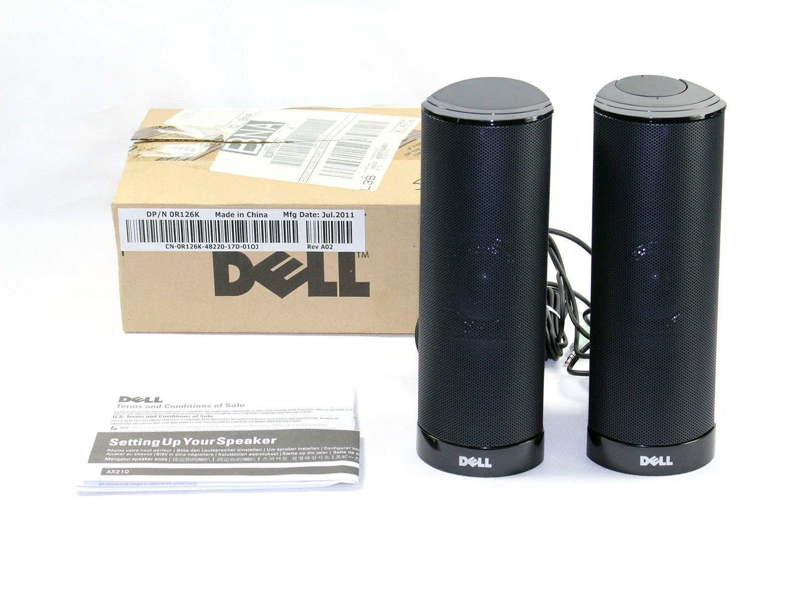Genuine OEM Dell AX210 Black USB Wired 2.0 Computer Desktop Powered Stereo Multimedia Speakers 2-Piece Upgrade Part Numbers: R125K, R126K, X156C, X146C, H252D, AX210, 464-7184, 1.2 Watt Maximum Power Output, Amplifier Integrated with 1/8 Mini Audio Jack,