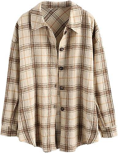 ZAFUL Abrigo para mujer de mezcla de lana, a cuadros, para otoño e invierno