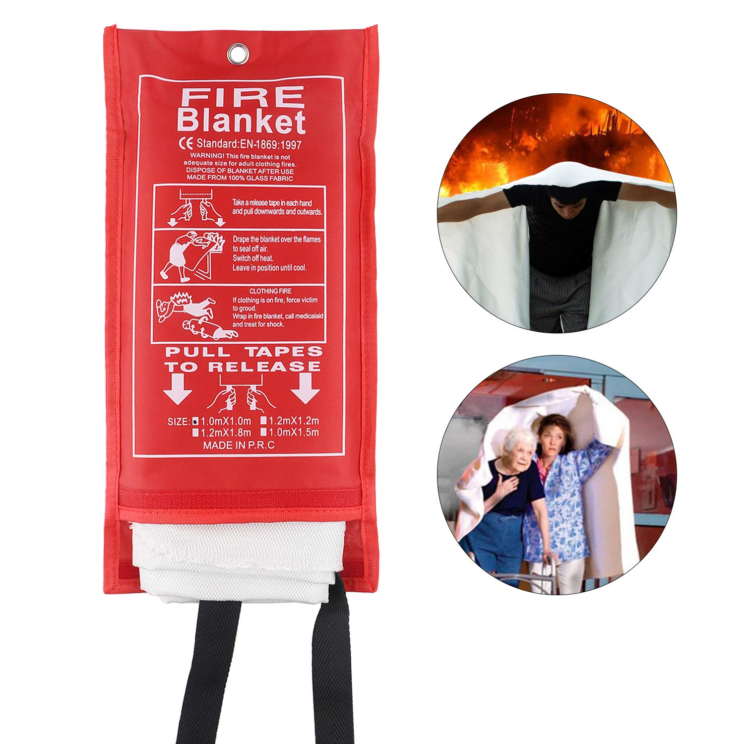Fire Blanket Emergency Survival Fiberglass Protective Blanket Flame Retardant Heat Insulation Safety Fire Cover Shelter Welding Blanket for Car Kitchen Fireplace Grill Camping (39x39 inches)