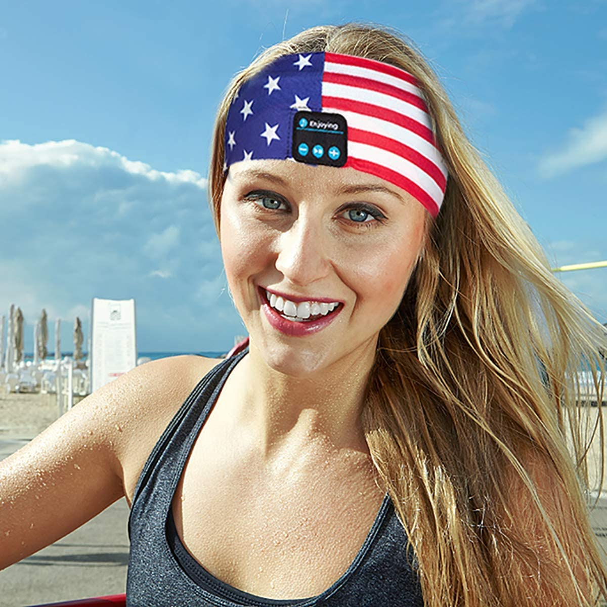 Bluetooth Headband Headphones, Wireless Bluetooth Sleeping Headband Running Music Earphones Headband Sports Sweatband Built-in Speakers Microphone American Flag Design for 4th of July