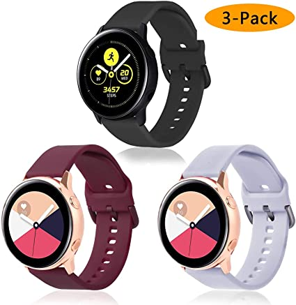 Koreda Compatible Samsung Galaxy Watch Active Bands/Galaxy Watch 42mm/Gear Sport Bands Sets, Silicone Strap Replacement Wristband with Stainless Steel ...