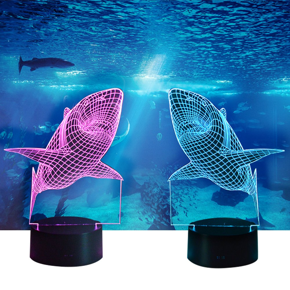 YiaMia 3D Shark LED Night Light Multi 7 Color Changing Touch Switch Optical Table Lamp USB Powered for Home Room Bar Party Festival Decor Kids Room Decoration 24Hearing SYNCHKG106142