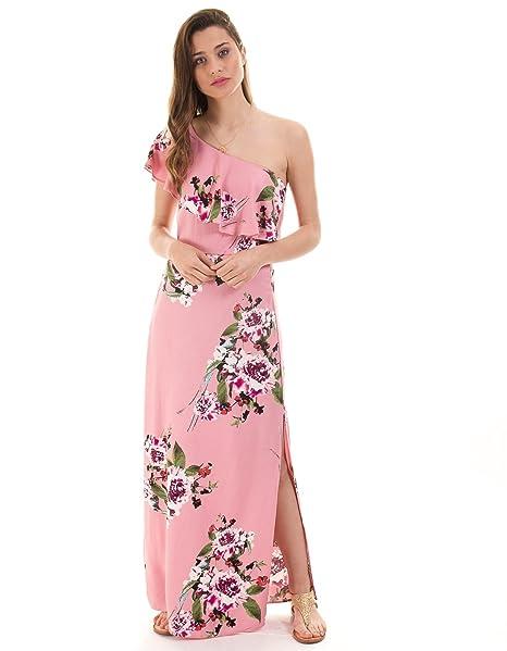 Vestido largo flores rosa