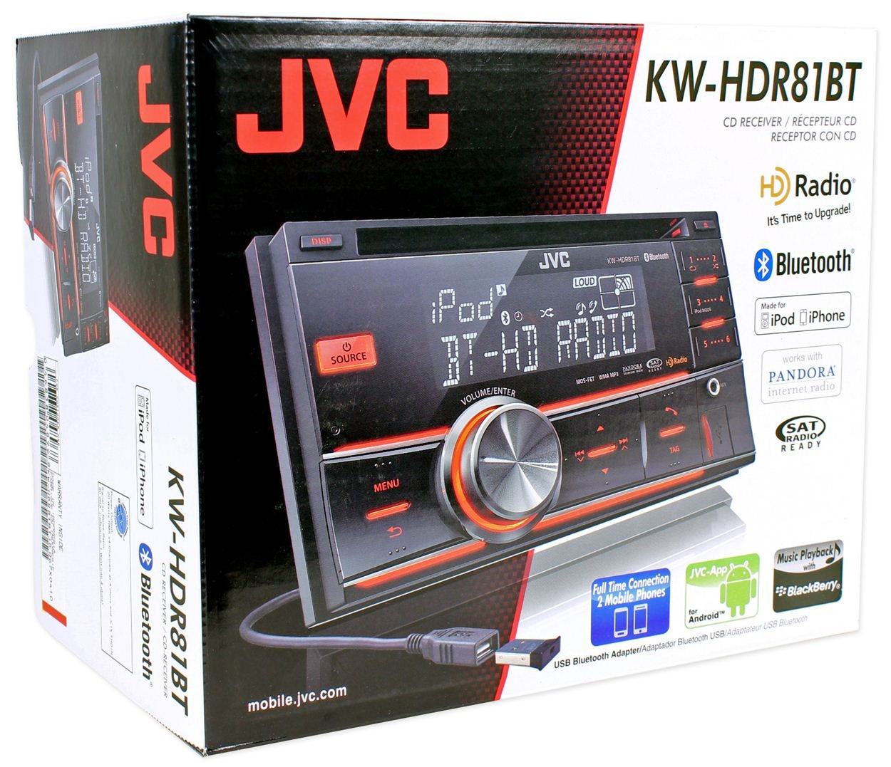 New Jvc Kw Hdr81bt Double Din Cd Usb Aux Car Receiver 1761 Radio Wiring Harness For Toyota 87up Power 4 Speaker Shopstak Player Bluetooth Stereo Electronics