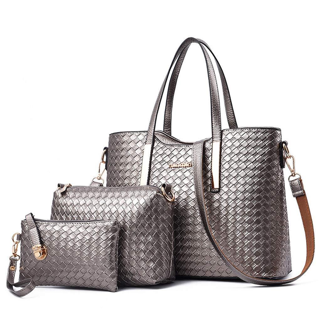 Womens 3Pcs Bag, Pattern Solid Leisure Fashion Messenger Bags+Handbag+Wallets Big Capacity Crossbody❤️Sumeimiya Bronze