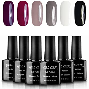 Gellen Classic Elegant Colors UV Gel Nail Polish Set Pack Of 6