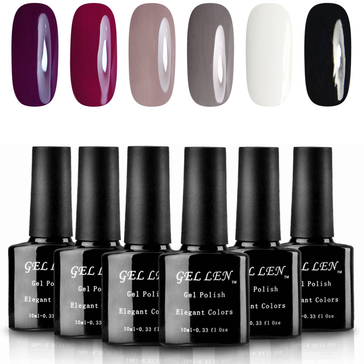 Gellen Classic Elegant Colors UV Gel Nail Polish Set, Pack of 6 Colors