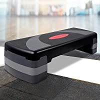 Everfit Aerobic Step Platform 4 Riser Blocks 3-Level Step Up Exercise 250KG Capacity Aerobic Stepper Board Bench Height…