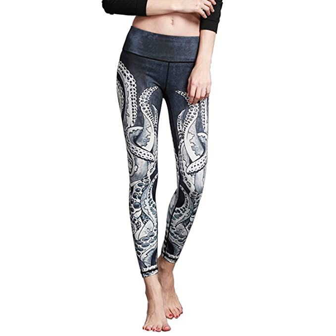 052bd3352c530e MTSCE Yoga Pants Yoga Capris Printed Workout Leggings (XS, Octopus)