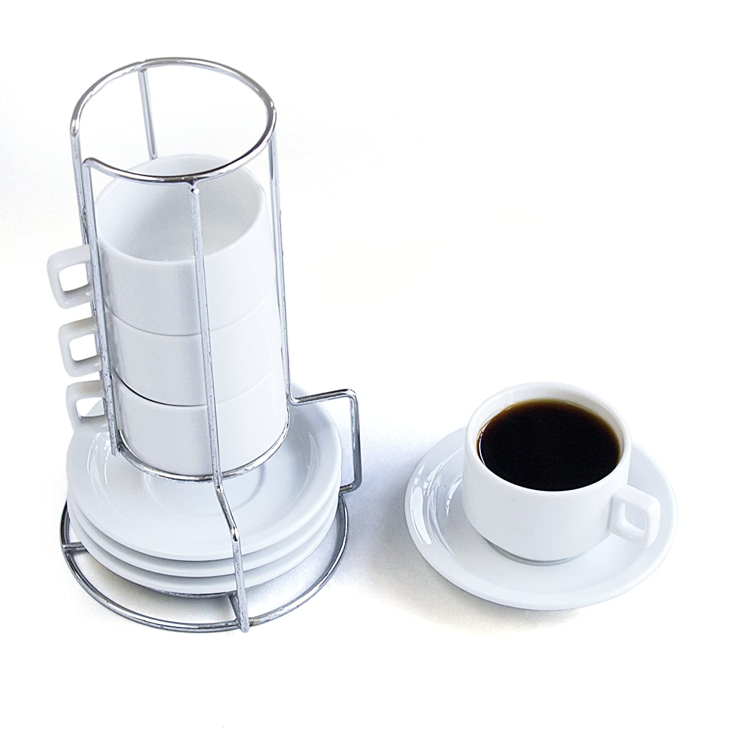 HIC 9-Piece Stackable Espresso Coffee Tea Set, Fine White Porcelain 4-Ounce Cups