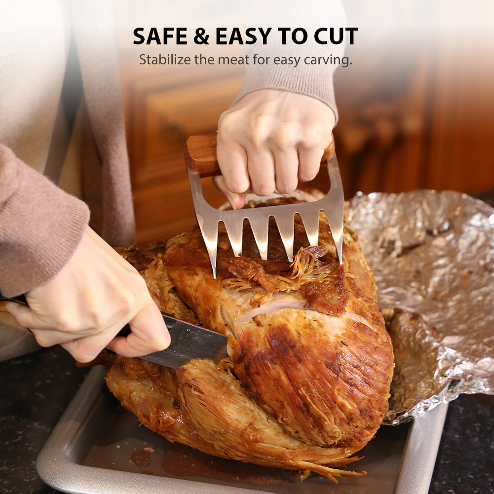 Metal Meat Claws, 1Easylife 18/8 Stainless Steel Meat Forks with Wooden Handle, Best Meat Claws for Shredding, Pulling, Handing, Lifting & Serving Pork, Turkey, Chicken, Brisket (2 Pcs,BPA Free) by 1Easylife (Image #5)