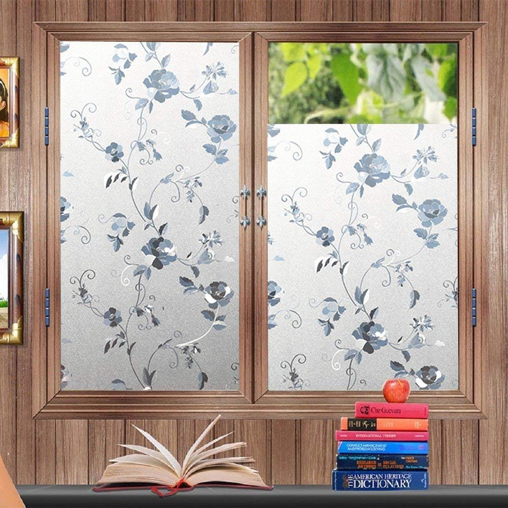 bofeifs Privacy Window Film Glass 3D Static Cling No-Glue Frosted Glass Decorative Pebble Vinyl Static Cling Film Sticker for Kitchen Home Bedroom Office 17.7In. X 78.7In. (45 x 200cm) BF106