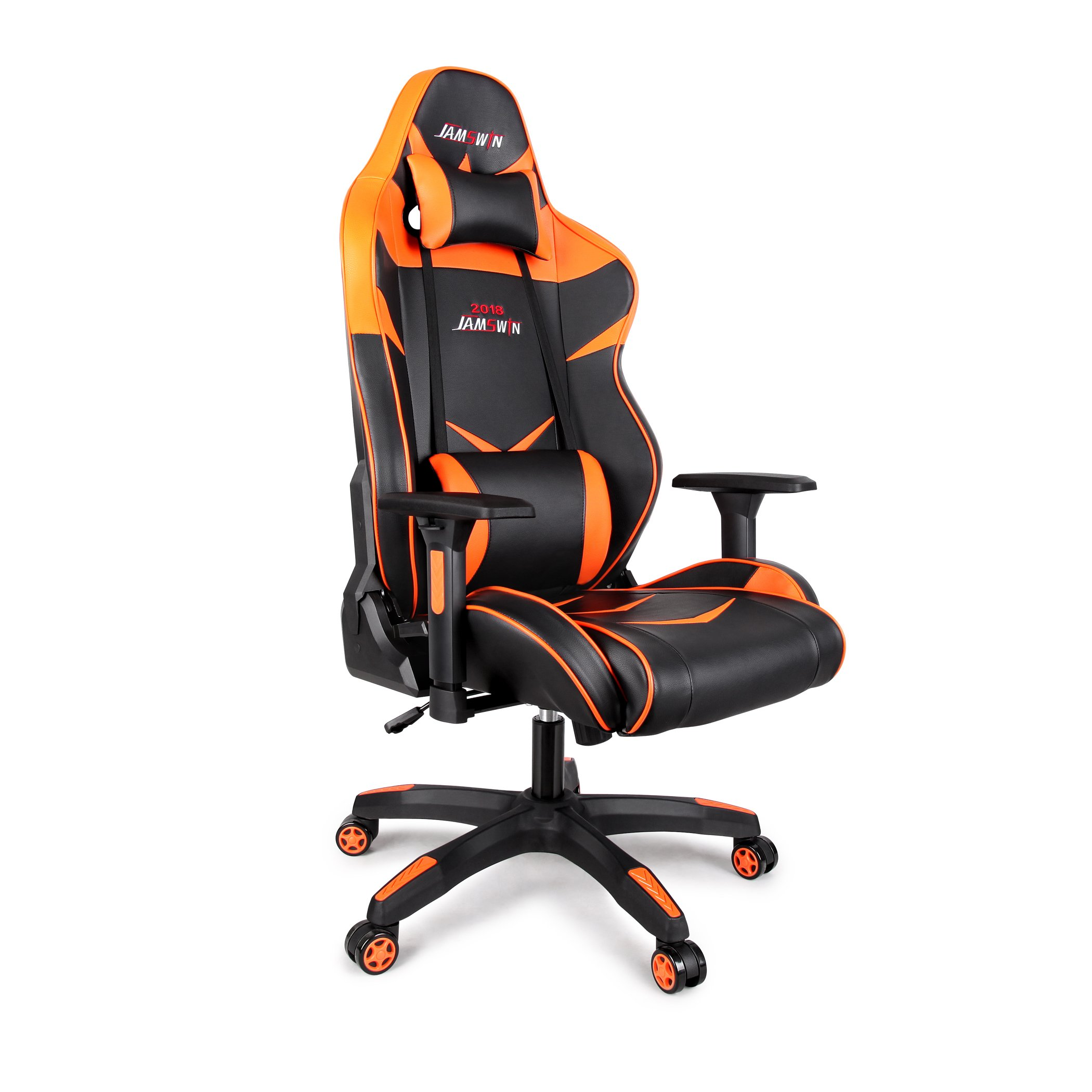 Jamswin Gaming Chair Ergonomic Large Size High Back Adjustable PU Leather Video Game Chairs Orange