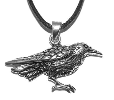 Raven pendant necklace sterling silver amazon jewellery raven pendant necklace sterling silver aloadofball Choice Image