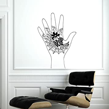 Hand tattoo henna wall decal namaste lotus flower yoga ornament geometric moroccan pattern wall vinyl decals