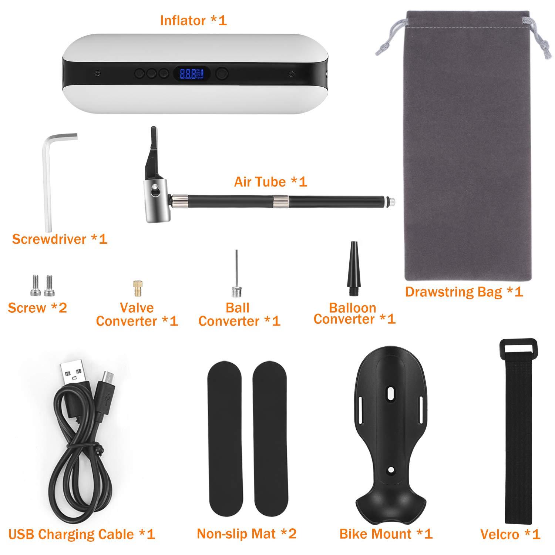 CYCPLUS 150PSI Pompa daria elettrica Compressore portatile mini Gonfiatore con LCD digitale LED Luce ricaricabile Li-ion 12V per tutti i tipi di Biciclette Auto Moto e altre palline Anello di nuotata bianco