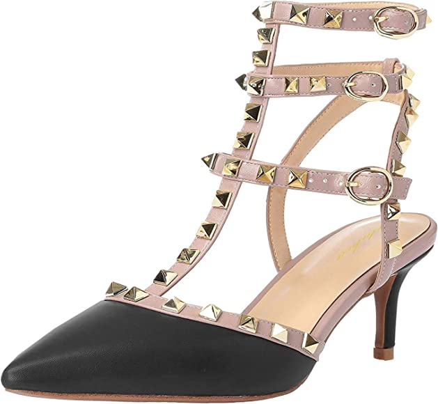 14a5c6ced8a3a Women Studded Sandals Pointed Toe Ankle Straps Kitten Heel Shoes Size  5.5-12 US
