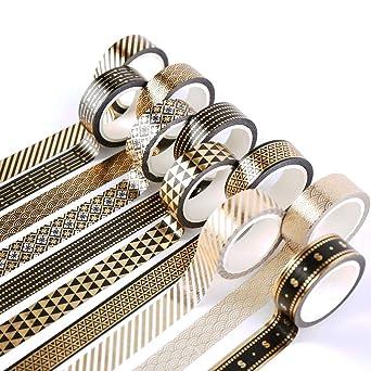 DIY Crafts Black /& White Planner Yubbaex 10 Rolls Sparkling Washi Tape Set 8mm Skinny Gold//Silver Foil Decorative Masking Washi Tapes for Bullet Journal,Scrapbook