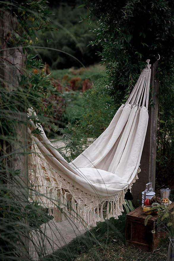 DOITOOL Hammock Boho Tassel Double Hammock Two Person Bed for Backyard Porch Outdoor Indoor