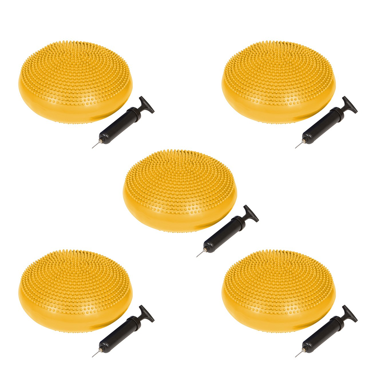 Trademark Innovations PVC Fitness and Balance Disc - 13-Inch Diameter - Set of 5 - (Yellow)