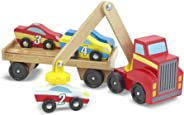 Melissa & Doug Magnetic Car Loader Wooden Toy Set, The Original (Cars & Trucks, 4 Cars and 1 Semi-Trailer Truck, Great Gift f