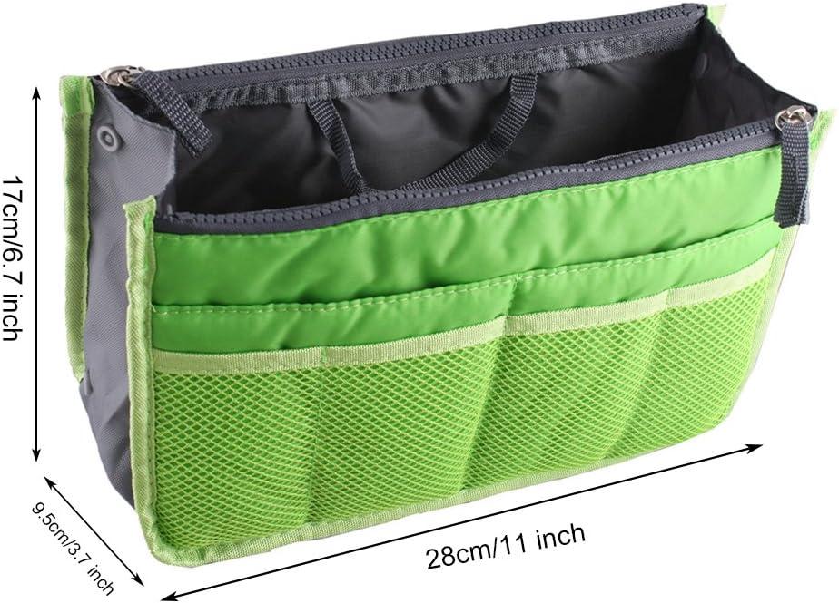 Green yihengya Yihya Mujer Travel Viajar Organizador Organizadores Bolsos con Insertar Forro Tidy M/últiples Bolsillos Bolsa Mejor Dise/ño de Cosm/ética Monedero Purse Handbag