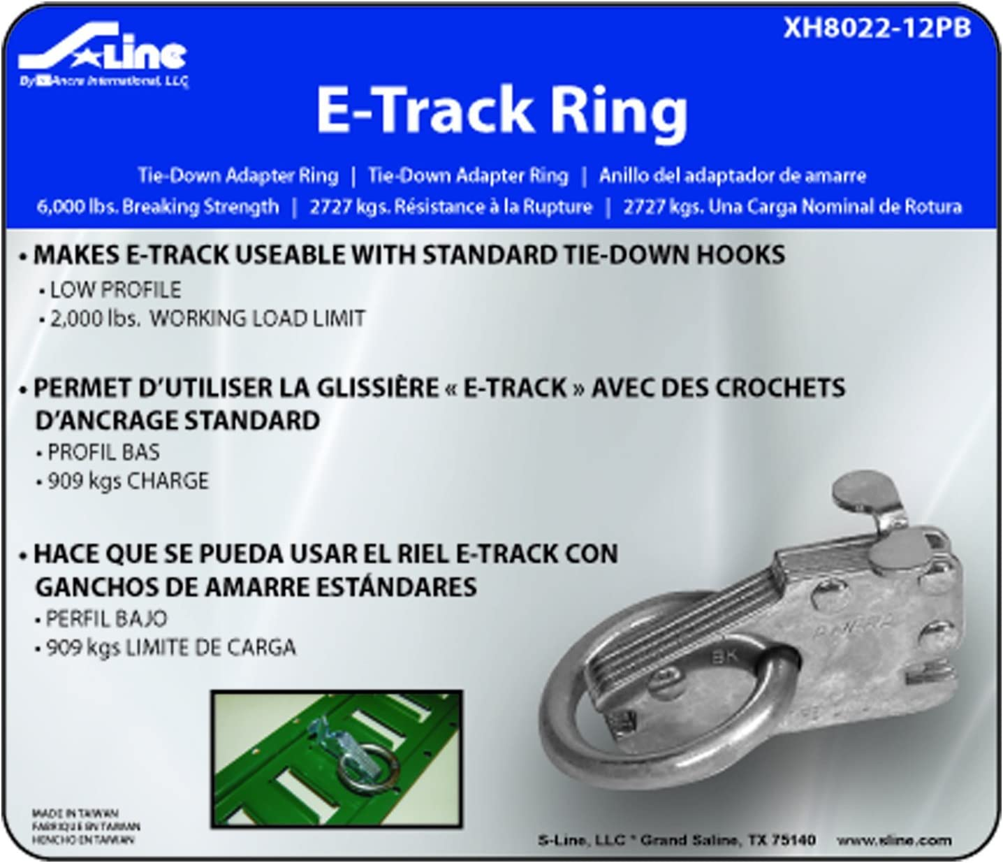 S-Line XH8021-10PB 7-Inch E-Track Tie-Off Strap with Stamped D-Ring 1,000-Pounds Working Load Limit Ancra
