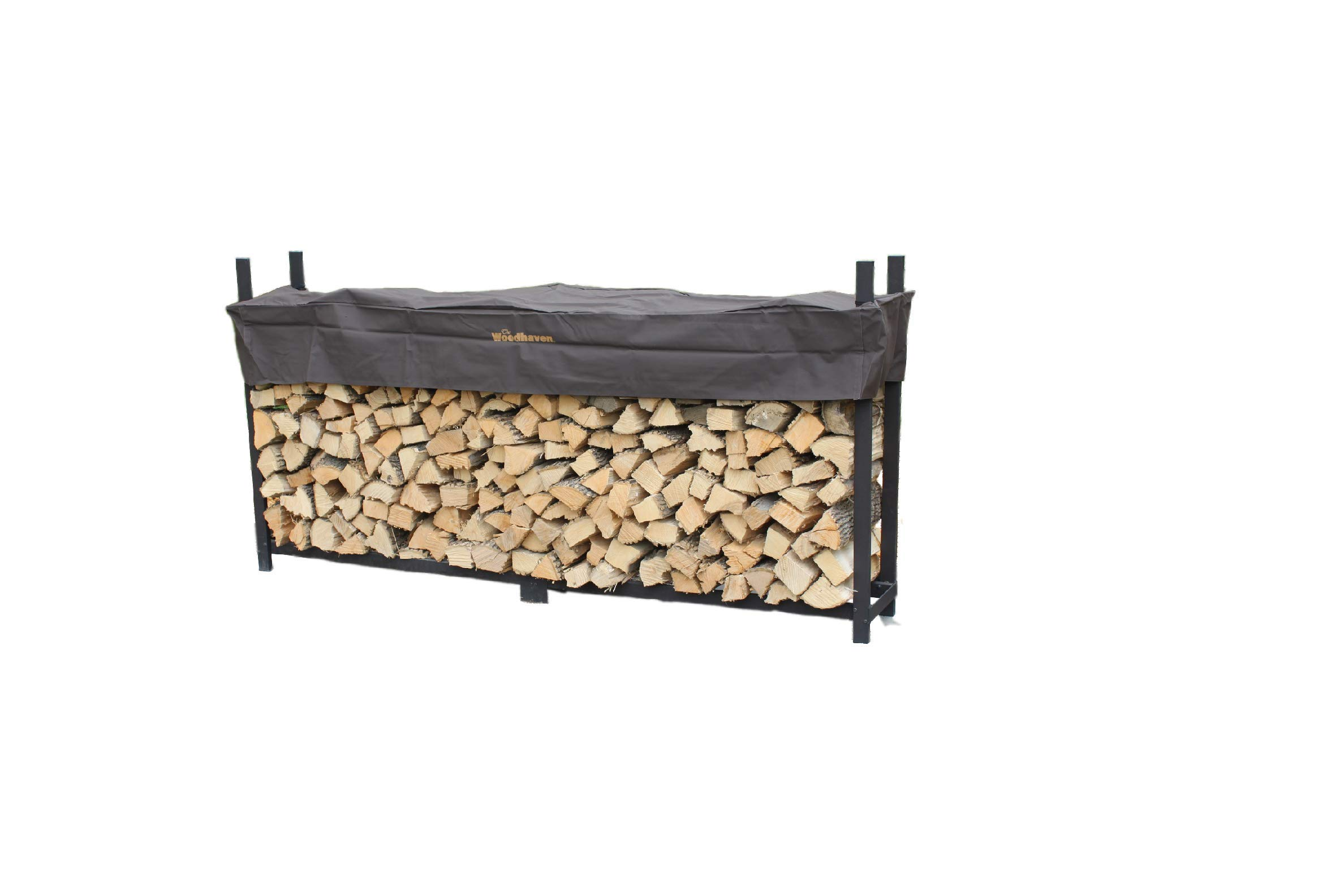 Woodhaven 8 Foot Brown Firewood Log Rack with Cover by Woodhaven