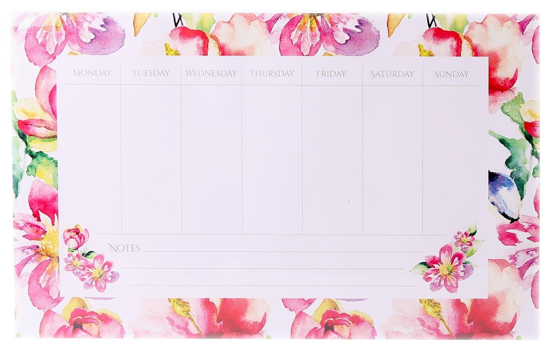 Watercolour Magnetic Weekly Planner Organiser Memo Pad 36cm x 23cm Carousel Home