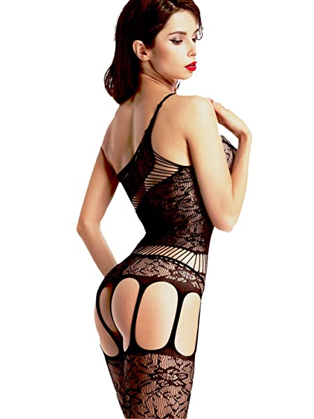 ae1a36caeab Amoretu Women Lace Tights Crotchless Lingerie Suspender Fishnet Bodystocking  Black  Amazon.ca  Clothing   Accessories