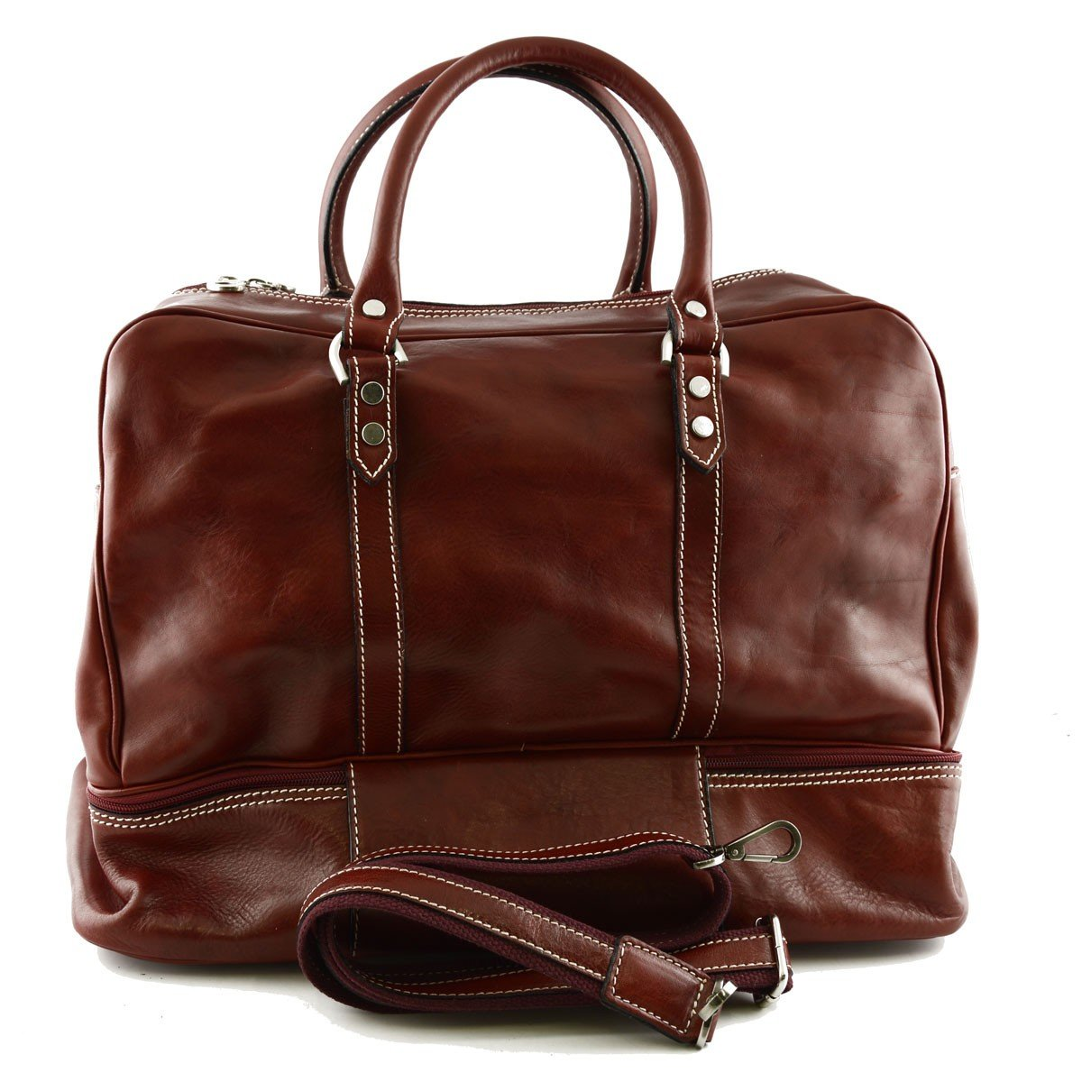 Made In Italy Leather Travel Bag Color Red - Travel Bag B01MXWDC4W